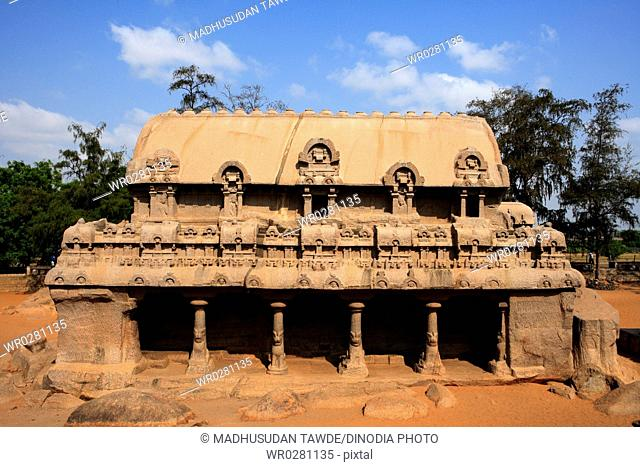 Bhima Ratha and Pancha Rathas carved Monolith rock carving temples , Mahabalipuram , District Chengalpattu , Tamil Nadu , India UNESCO World Heritage Site