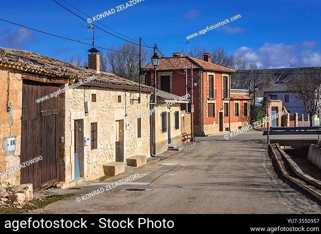 Houses in Penalba de San Esteban town in municipality of San Esteban de Gormaz, Province of Soria in Spain