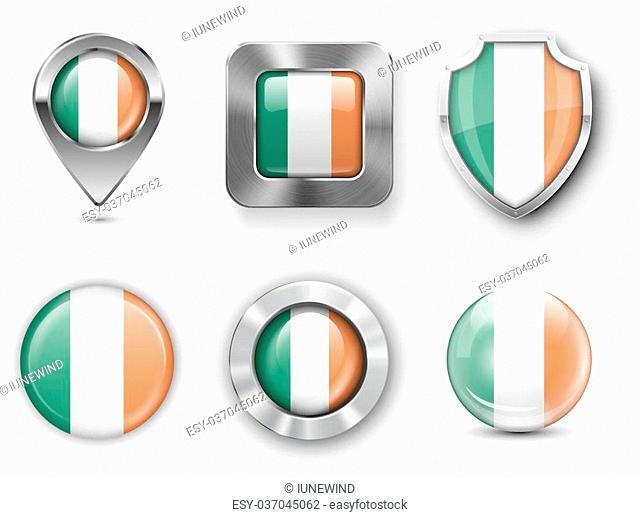 Ireland Metal and Glass Flag Badges, Buttons, Map marker pin and Shields. Vector illustrations