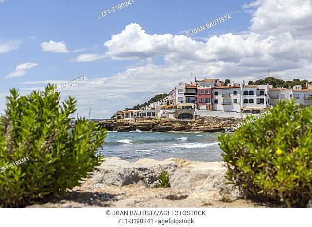 Mediterranean beach in Roda de Bera, Roc Sant Gaieta, Costa Daurada, province Tarragona, Catalonia