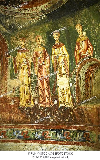 Eleventh Century Romanesque frescoes of the side Apse of Sant Quirze de Pedret showing the parabel of the Ten Virgins from the Gospel of St. Matthew
