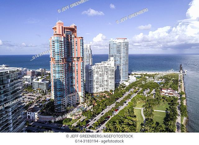 Florida, Miami Beach, South Pointe Park, aerial overhead bird's eye view above, Apogee Condominium, Portofino, Continuum South Beach