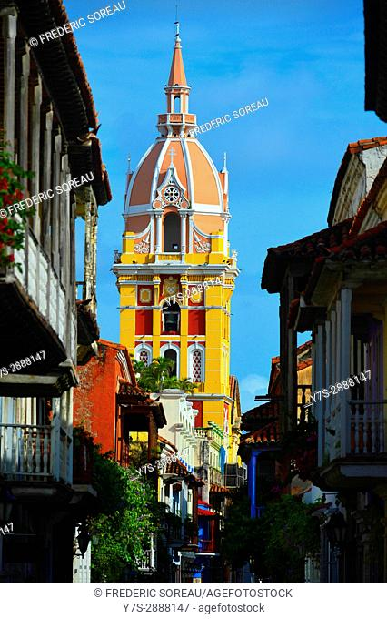 Tower of the historic Cathedral of Saint Catherine of Alexandria in the city of Cartagena de Indias , Colombia, South America