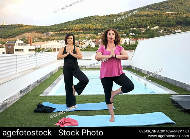 Two women practice yoga on the terrace of the house, Tree pose