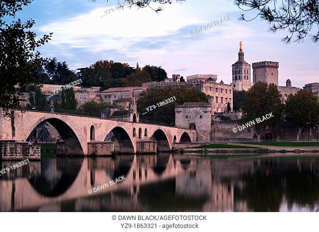 Palais des Papes and Pont d'Avignon at Dusk, Provence