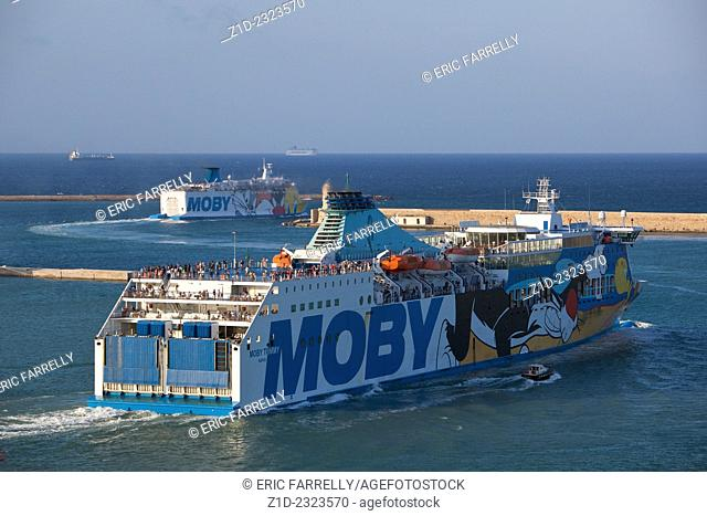 Early morning ferries sailing from Livorno Italy