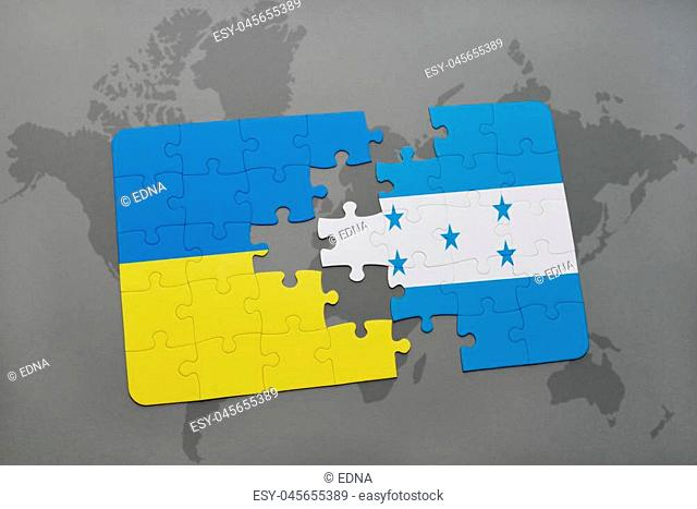 puzzle with the national flag of ukraine and honduras on a world map background. 3D illustration