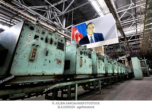 Portrait of the former president Heydar Aliyev (father of Ilham Aliyev, actual president of Azerbaijan) in an abandoned air conditioner factory which used to...