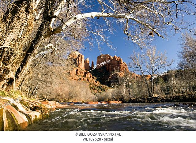View of Cathedral Rock from Crescent Moon Ranch - Sedona, Arizona