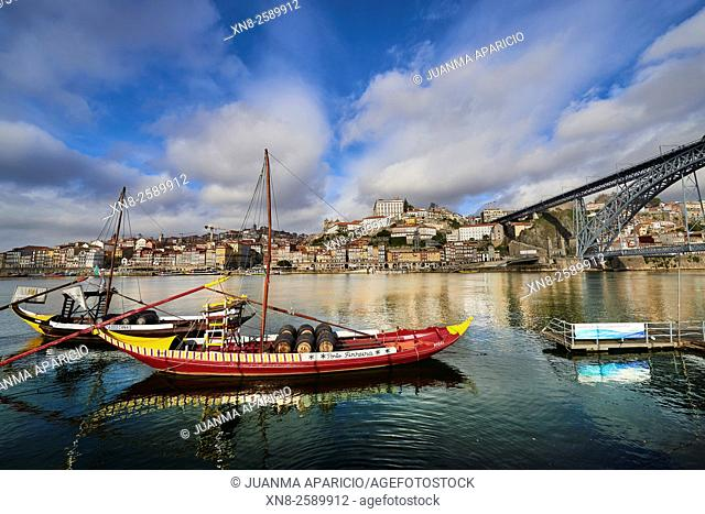 View of the Douro River whit Rabelos Boats and the Old Town of Porto, Porto, Portugal, Europe