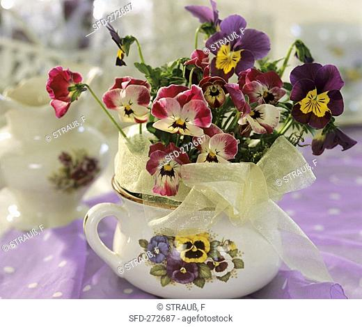 Horned violets and pansies in soup cup