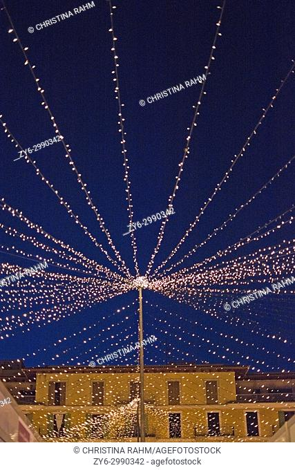 Plaza Mayor detail with Christmas lights in Palma de Mallorca, Balearic islands, Spain