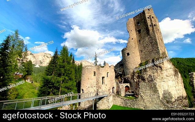 Beautiful view of Andraz Castle in the Italian Alps