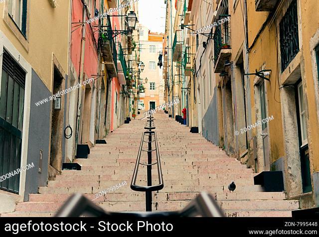 LISBON, PORTUGAL- MARCH 23, 2013: Lisbon#39;s Gloria funicular classified in Bairro Alto in Lisbon, Portugal