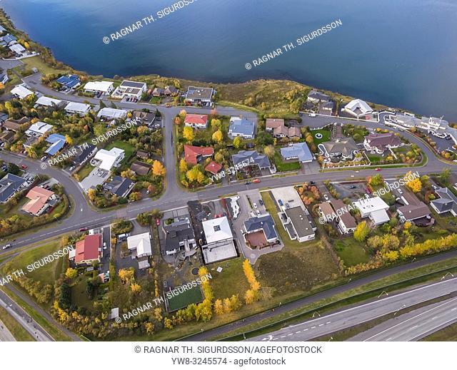 Aerial- Suburban neighborhood, Gardabaer, near Reykjavik, Iceland