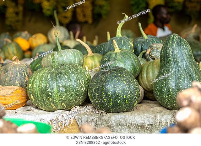 Squash laid out for sale at outdoor market, Rwanda Farmers Market, in Rwanda