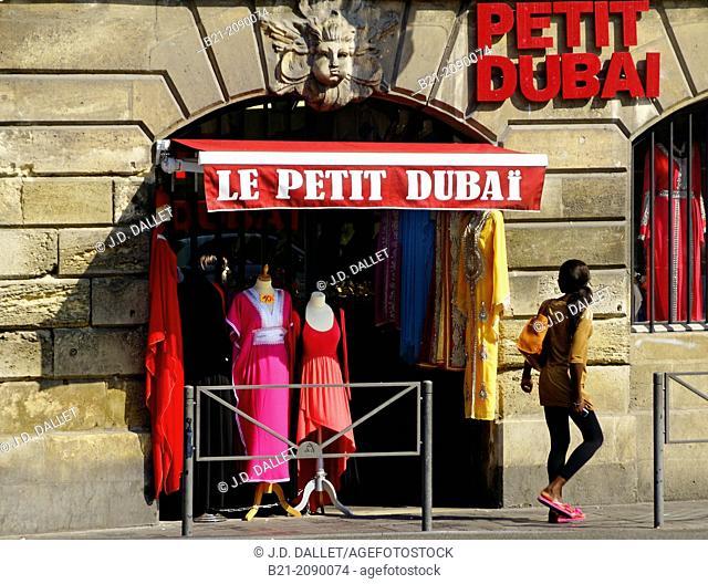Clothes shop in the multiethnic area of Saint Michel, Bordeaux, Gironde, Aquitaine, France
