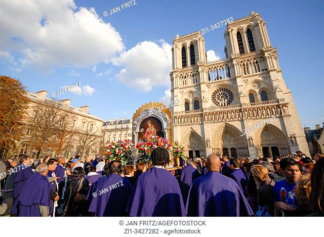 celebrating St. Lazarus at Notre Dame in Paris, France with blue sky