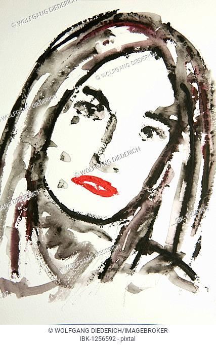 Portrait of a woman's face, watercolor, artist Gerhard Kraus, Kriftel, Germany, Europe