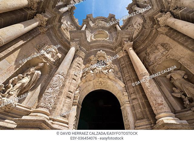 Facade of famous Valencia cathedral, Valencia, Spain
