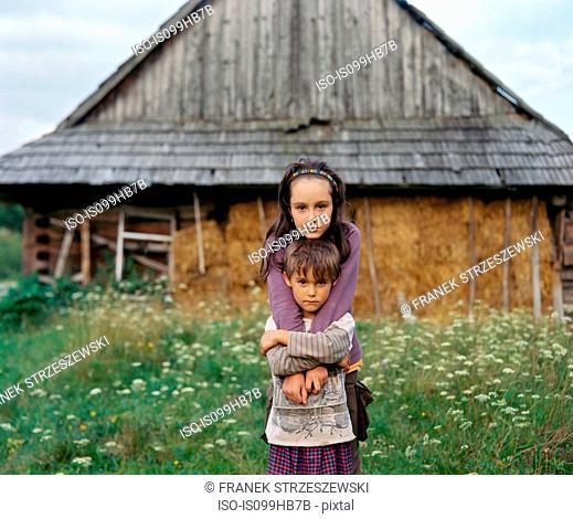 Portrait of siblings, Nowica, Poland