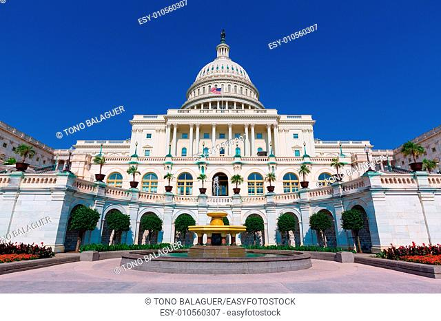 Capitol building Washington DC sunlight USA congress fountain US