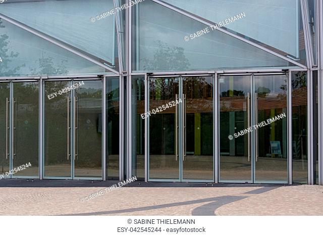 Environment, glass facade and entrance area of the Federal Environmental Agency in Dessau