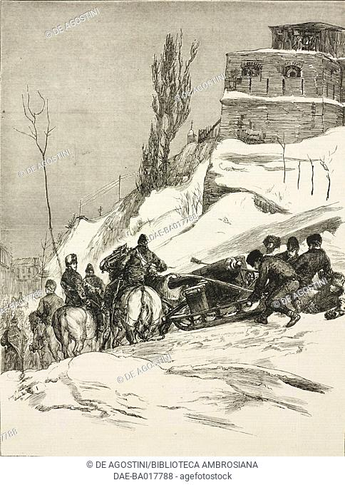 A battery of artillery on the march, Dominion Force, Canada, illustration from the magazine The Graphic, volume XIX, no 484, March 8, 1879