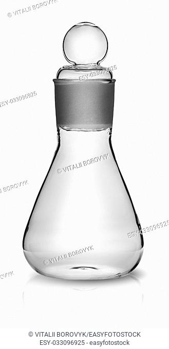 Old laboratory flask with ground glass stopper isolated on white background