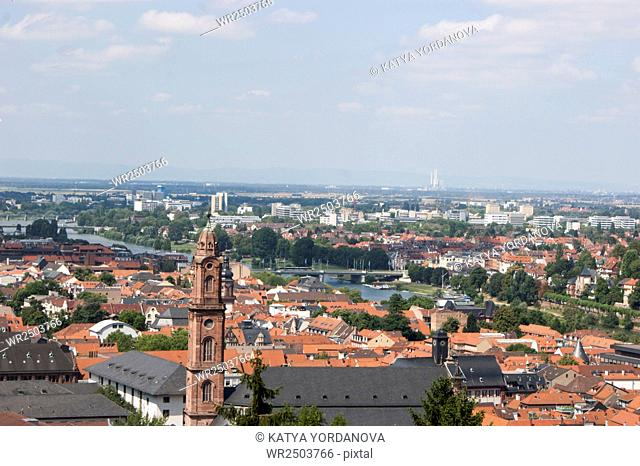Overlook of the rooftops of the city of Heidelberg and the River Neckar from the ruins of Heidelberg Castle, Baden-Wurttemberg, Germany