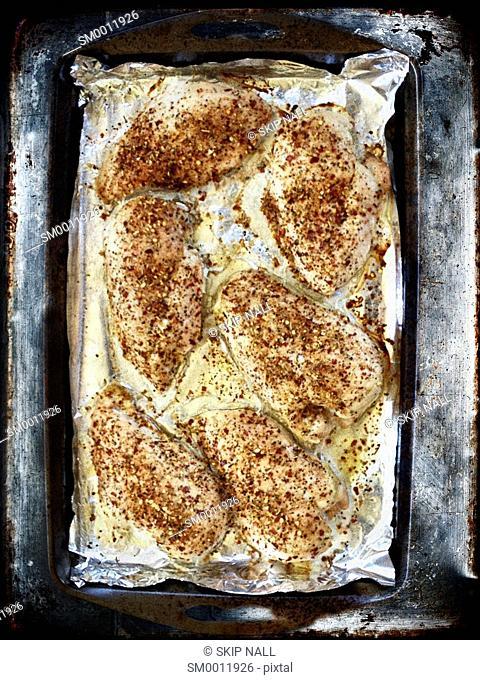 Fresh baked chicken with seasoning