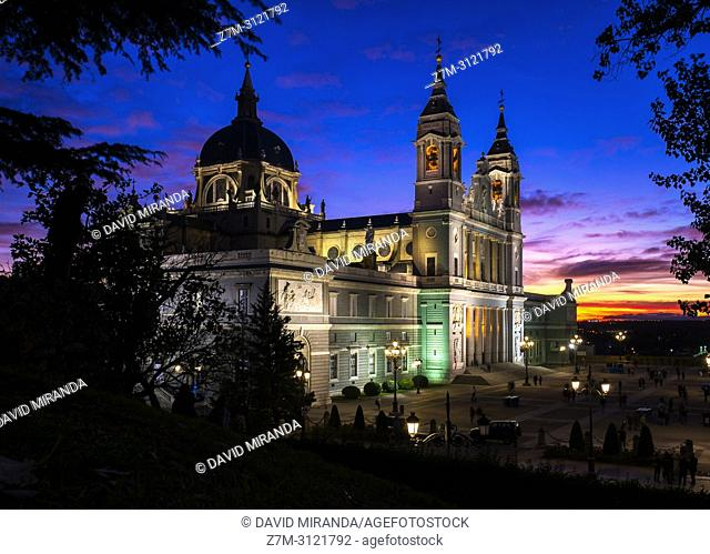 Almudena catedral at sunset. Madrid, Spain