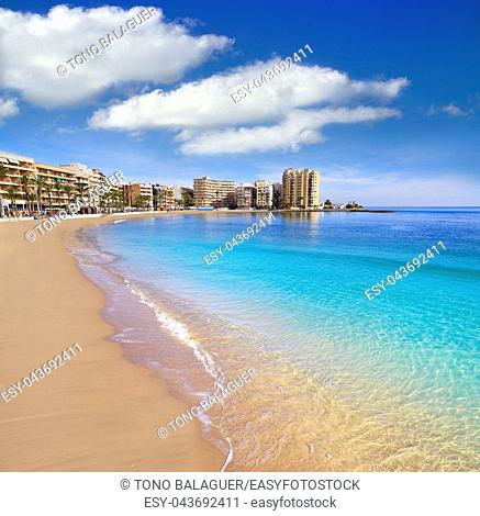 Playa del Cura beach in Torrevieja of Alicante Spain at Costa Blanca