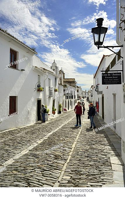 The white washed houses of the historic village of Monsaraz. Alentejo, Portugal