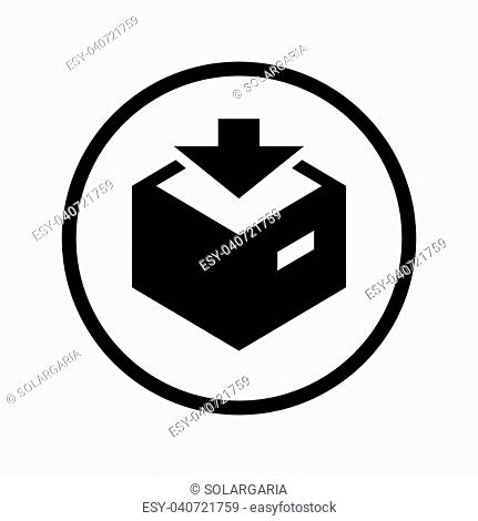 Vector of Download icon in Circle line, iconic symbol inside a circle, on white background. Vector Iconic Design