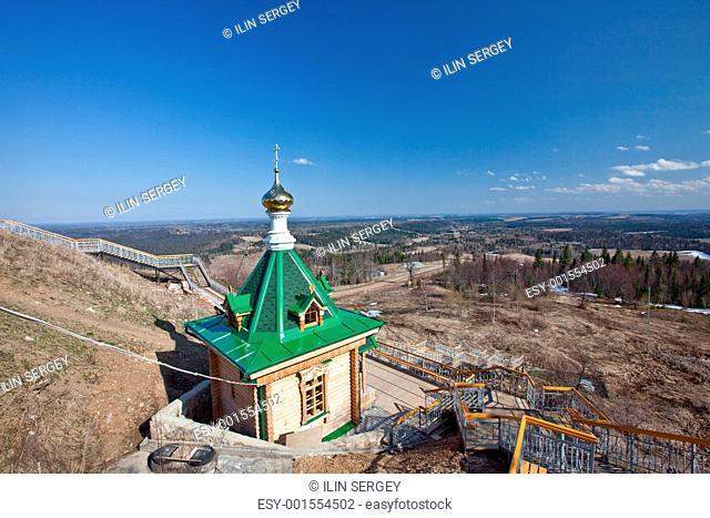 Wooden chapel. Russia. Perm. White mountain