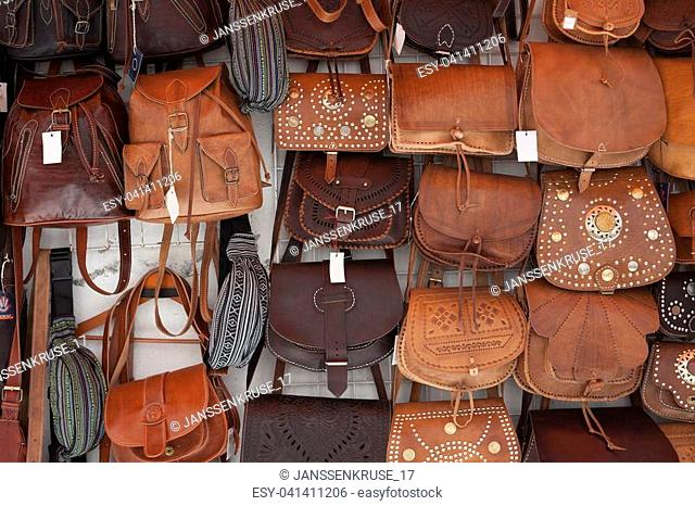Souvenir shop with leather bags in Seville