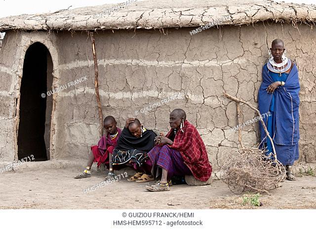 Tanzania, Arusha Region, Rift Valley, around Manyara National Park, a Maasai village around Mto Wa Mbu