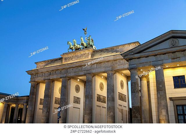 Brandenburger gate in Berlin in evening time