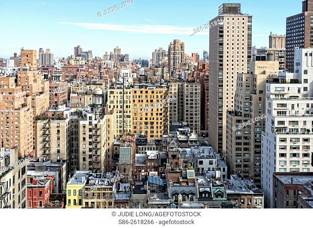 Looking towards the North and the Upper East Side of Manhattan, New York City, over Apartments, Town Homes and Rooftops