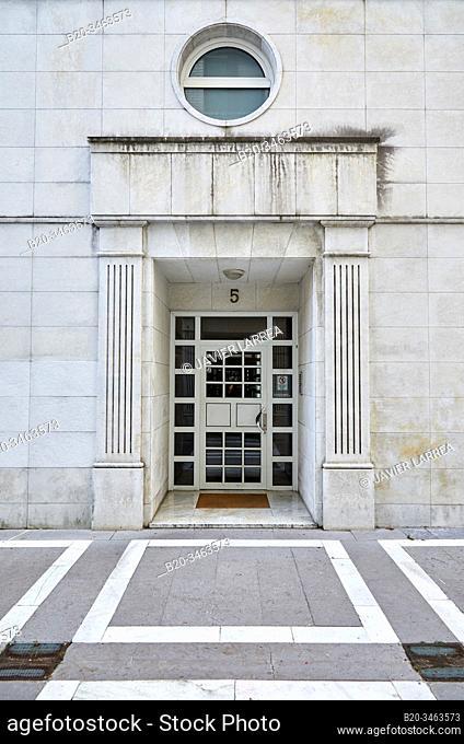 Portal Entrance, Apartment building, Amara, Donostia, San Sebastian, Gipuzkoa, Basque Country, Spain, Europe