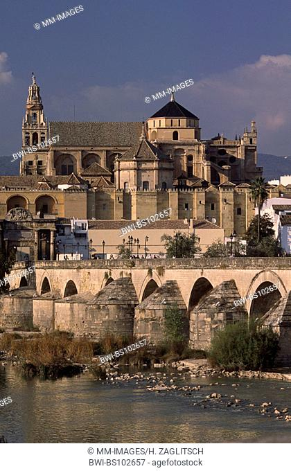 View at the Guadalquivir, the Puente Romano and the Mezquita in Cordoba, Spain, Andalusia