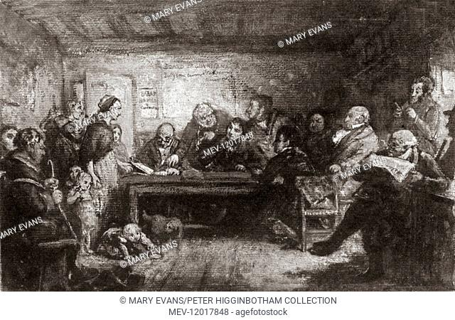 An engraving of the painting ' Poor Law Guardians, Board Day Application for Bread' by Charles West Cope. Based on a visit to the Staines Board of Guardians