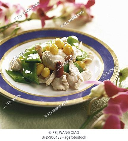 Chicken breast with Gingko and peas