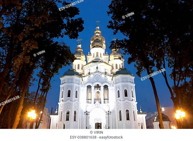 Temple of the holy women who carry peace to the earth. Kharkov, evening