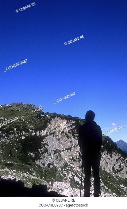 Going to Tissi refuge, Civetta group, Belluno province, Veneto, Italy, Tissi refuge, Civetta mount, between Zoldo Valley and Cordevole Valley
