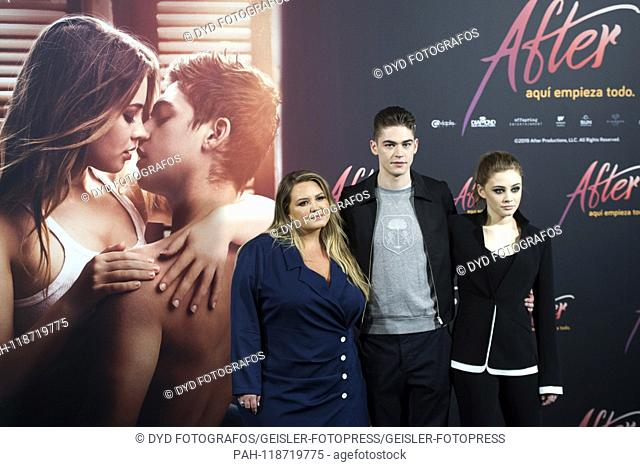 Anna Todd, Hero Fiennes Tiffin and Josephine Langford at the Photocall for the movie 'After: Aqui empieza todo / After Passion' at the Hotel VP Plaza Espana...