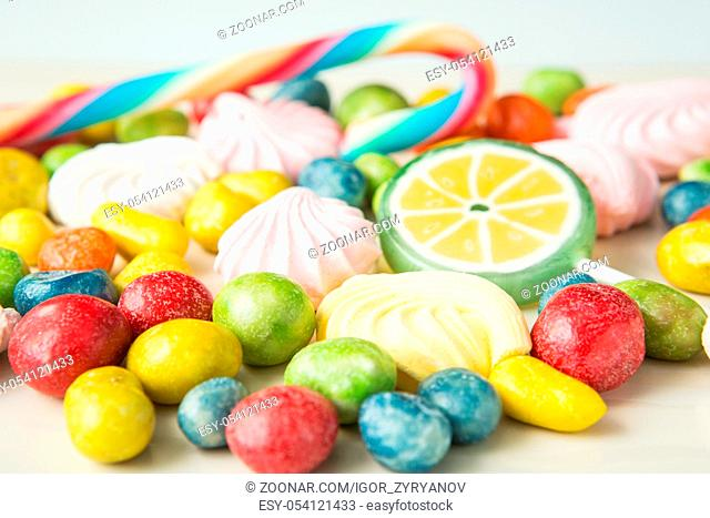 colorful fruity bean candy with different flavors