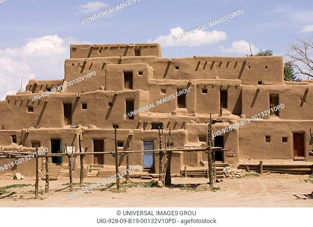 The Adobe Building Of The North Pueblo Dating From 1450. Taos Pueblo, New Mexico