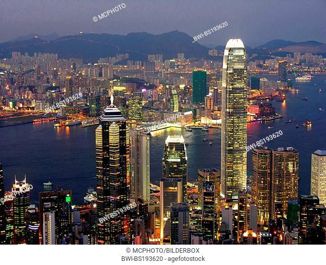 skyline of Hong Kong at night, China, Hong Kong
